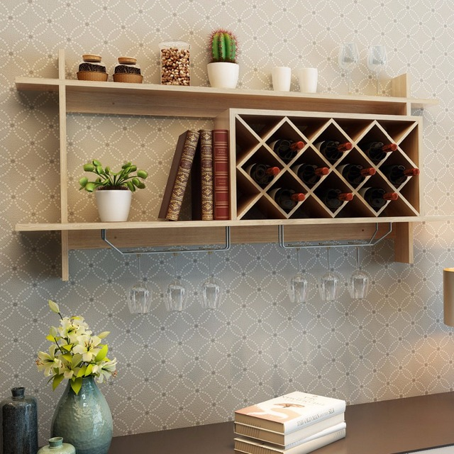 Goplus Wall Mount Wine Rack Organizer With Glass Holder Storage