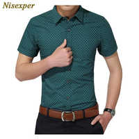 Camisa de hombre nueva moda de algodón para hombre camisa Social para hombre camisas de manga corta Hombre Polka Dot Casual talla grande 5XL