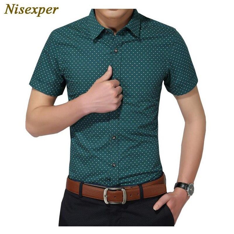 Chemise pour hommes nouvelle mode coton hommes chemise sociale hommes à manches courtes chemises homme à pois décontracté grande taille 5XL