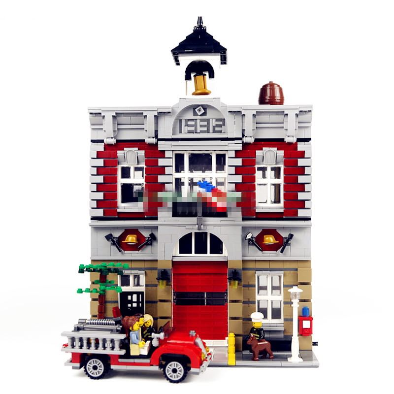 Lepin 15004 City Street Model House Building Kits Blocks Fire Bricks Educational Compatible With legoingly 10197 toys children compatible city lepin 02005 889pcs the volcano exploration base 02005 building blocks policeman educational toys for children