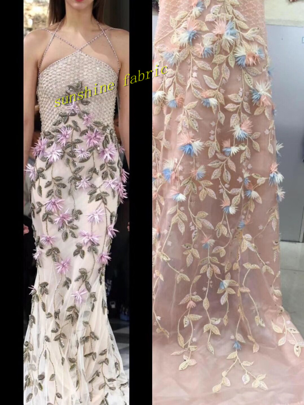 Luxury French lace latest lace high quality 3D applique flower lace fabric for bridal beaded And Stones lace fabric for dress