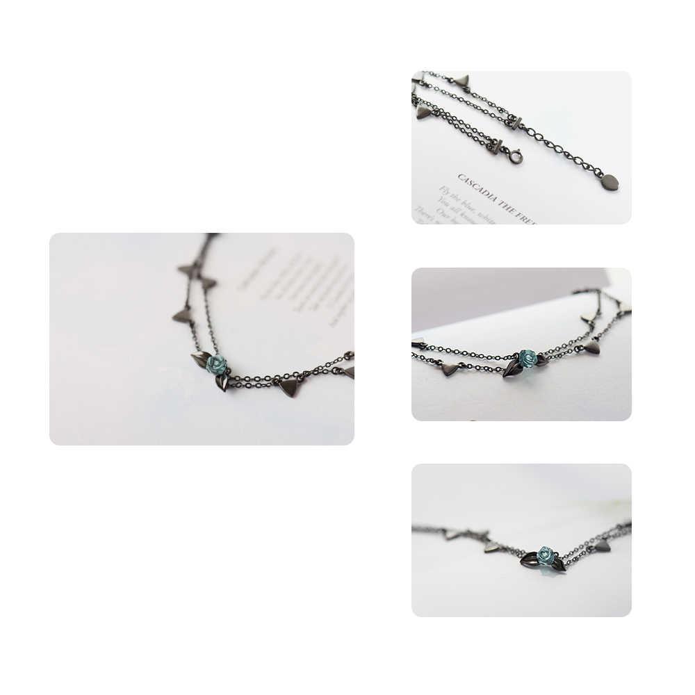 Pulsera de plata Thaya 100% 925 con espinas Rosas y cristales de dos capas, pulsera negra con eslabones y flores para mujer, joyería de estilo coreano, regalo