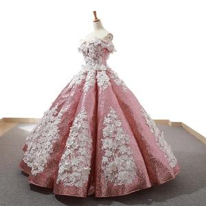 Image 3 - J66662 jancember ורוד quinceanera שמלות 2019 נפוח כבוי תחרת כתף לבן פרחי כדור שמלת שמלת מבריק бальное платье