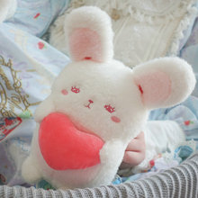 Shy Bunny Plush toy Soft Lolita Princess Hug Stuffed Rabbit with Red Heart Donut Moon Gift for Girl sleeping Naughty Animal