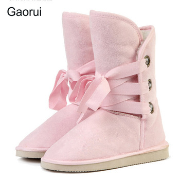 Gaorui New Woman Snow Boots Winter Fashion Man-made Fur Knot Mid-calf Motorcycle Boots Women Shoes Woman 5 Colors