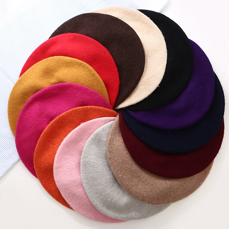Winter Warm Faux Wool Beret Women Girls French Artist Beanie Hat Cap Red Black Purple Beige Orange Kawaii Flat Top Caps Warmers(China)
