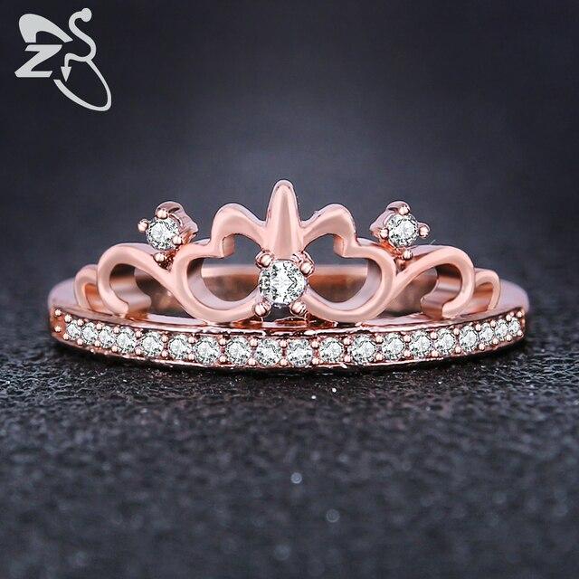 ZS moda princesa corona anillo reina Anillos de compromiso rosa de oro de  color con zirconia 4900045e16c