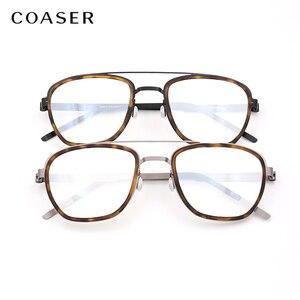 Image 5 - Gafas de titanio para hombre, lentes con montura de marca de Dinamarca, diseño Vintage, redondas, graduadas, para miopía, de metal