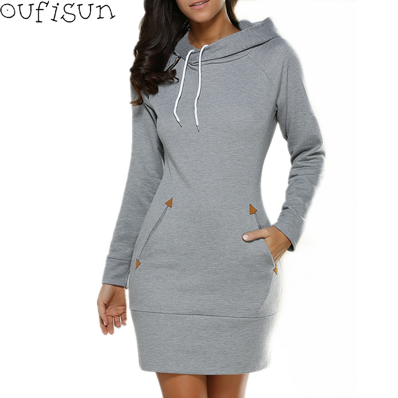 Oufisun Autumn <font><b>Winter</b></font> <font><b>Casual</b></font> Vintage Women <font><b>Dress</b></font> 2018 New Long <font><b>Sleeve</b></font> Hooded <font><b>Dresses</b></font> Fashion Solid Pocket <font><b>Sexy</b></font> Mini Pencil <font><b>Dress</b></font> image
