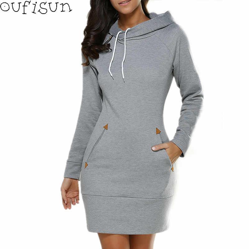 Oufisun automne hiver Vintage femmes robe 2019 paquet hanche à manches longues à capuche robes mode poche Sexy robe courte Vestidos