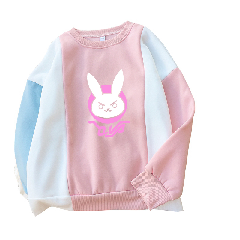 Harajuku Women Pink Hoodies Japanese Anime Cartoon The Game OW D.VA Rabbit Cute Winter Sweatshirts Pullovers Moletom PSWY-108