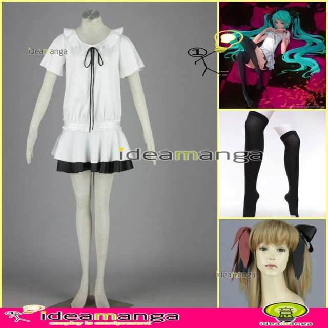 [ideamanga]Manga Amime V+ VOCALOID Hatsune Miku WORLD IS MINE girl's Cosplay Costume Female halloween party dress Any Size
