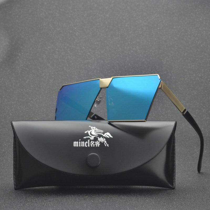 f13d6e4ac2217 MINCL grandes óculos de proteção óculos de sol um pedaço mulheres metal  frame designer fresco