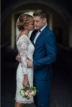 Свадебное платье длиной до колена винтажное кружевное короткое