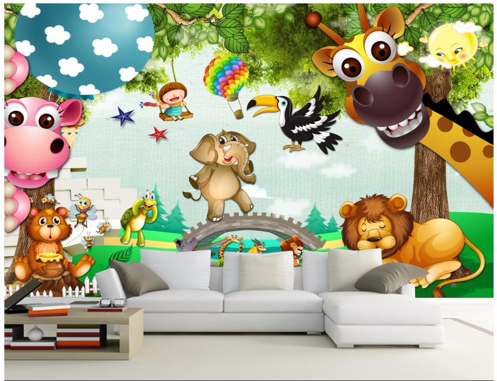 3D Wallpaper Custom Mural Child Park Animal Cartoon