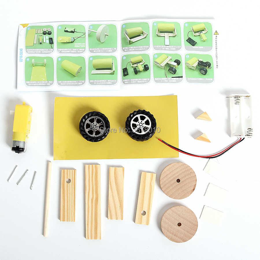 DIY Kayu Elektrik Jalan Alat Penggulung Mainan Model Kits, Lucu Science dan Teknologi Assembly Percobaan Pendidikan Batang Mainan untuk Anak-anak