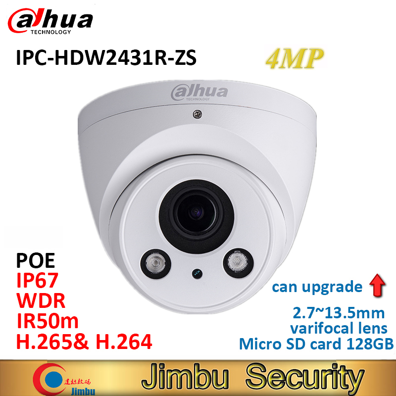 Dahua Eyeball IP Camera 4MP POE IPC-HDW2431R-ZS H.265& H.264 IP67 Motorized Vari-Focal Lens 2.7-13.5mm IR50m Micro-SD Slot 128GB dahua ip camera poe 4mp ipc hdbw4433r zs starlight 2 7mm 13 5mm motorized lens h2 65 ir50m sd card slot ip67 ik10