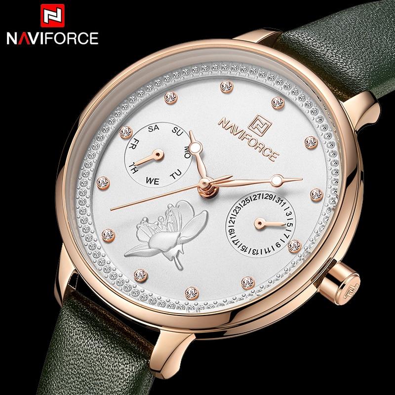 NAVIFORCE Top Marke Uhr Leder Handgelenk Uhren für Frauen dames horloges donna orologio damen uhr luxus