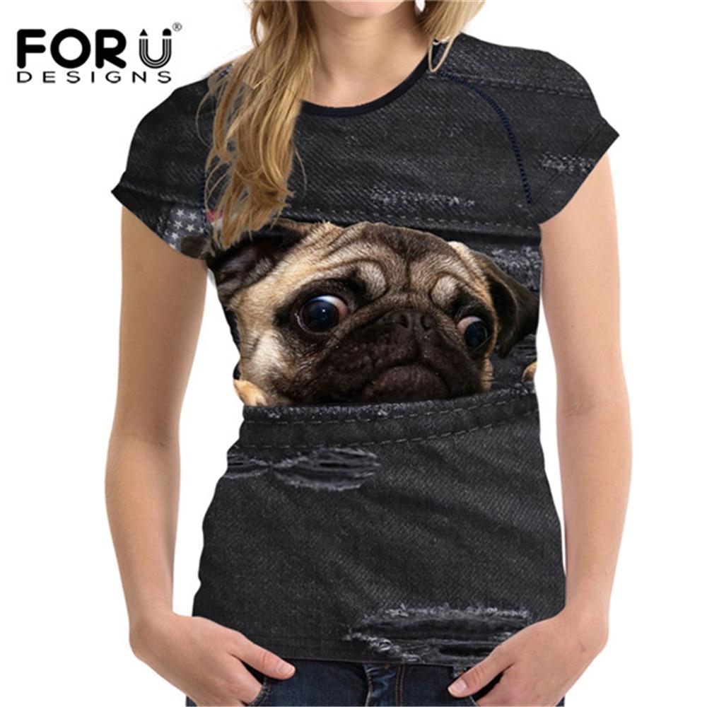 63337f0f5c17 FORUDESIGNS Cute Fake Denim Pug Dog Printing Woman Black T Shirts Fashion  Brand Summer Tops Tees