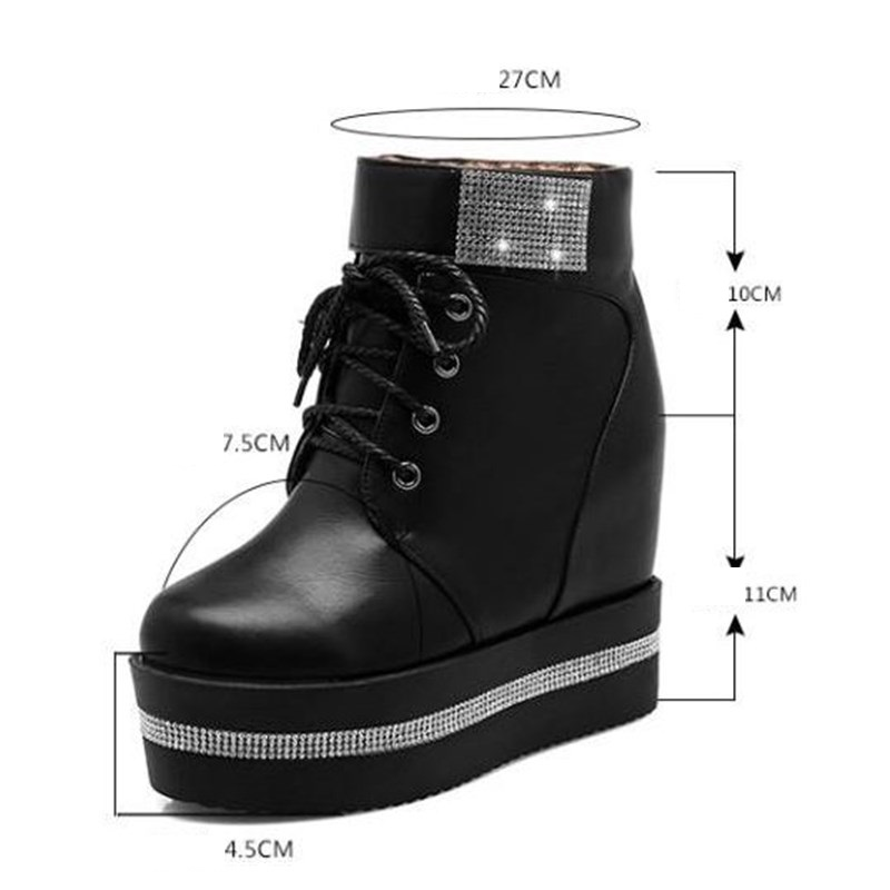 XJRHXJR 2018 Women Boots Wedge Concealed Heel High Top Platform Ankle Boots  Lace Up Rhinestone Boots Shoes Size 35 39 Free Ship-in Ankle Boots from  Shoes on ... 3c8ef967fc34