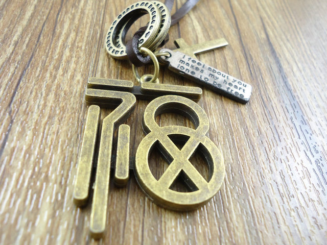 2015 fashion vintage men jewelry genuine leather corss chinese 2015 fashion vintage men jewelry genuine leather corss chinese characters pendant necklace for women aloadofball Images