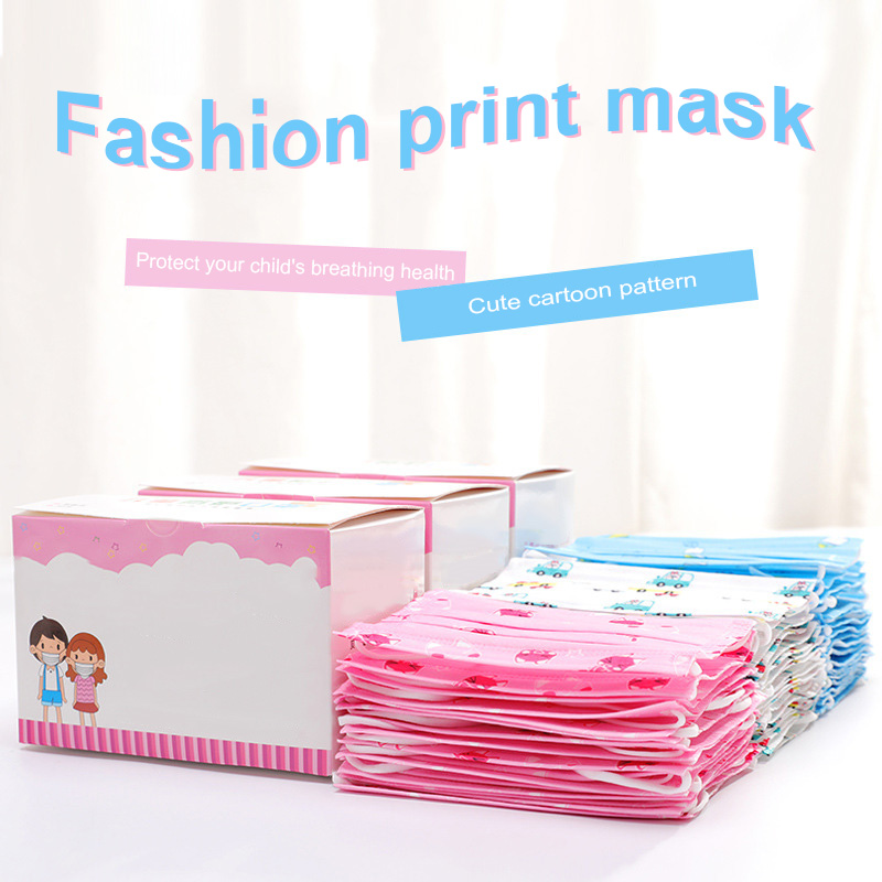 50 Pcs Childern Kids Disposable Mouth Face Mask Cartoon Dustproof Non-Woven Fabric -MX8