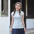 Novelty Stylish Chinese Women's Cotton Linen Shirt Tops Short Sleeves Blouse tang Clothing Size S M L XL XXL XXXL 2518-2