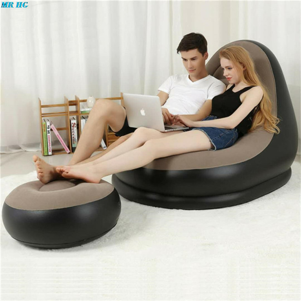 Inflatable Sofa with Foot Rest Cushion Stool Garden Lounger Home Leisure Living Room PVC Air Lounge Chairs Furniture Infatables portable media player