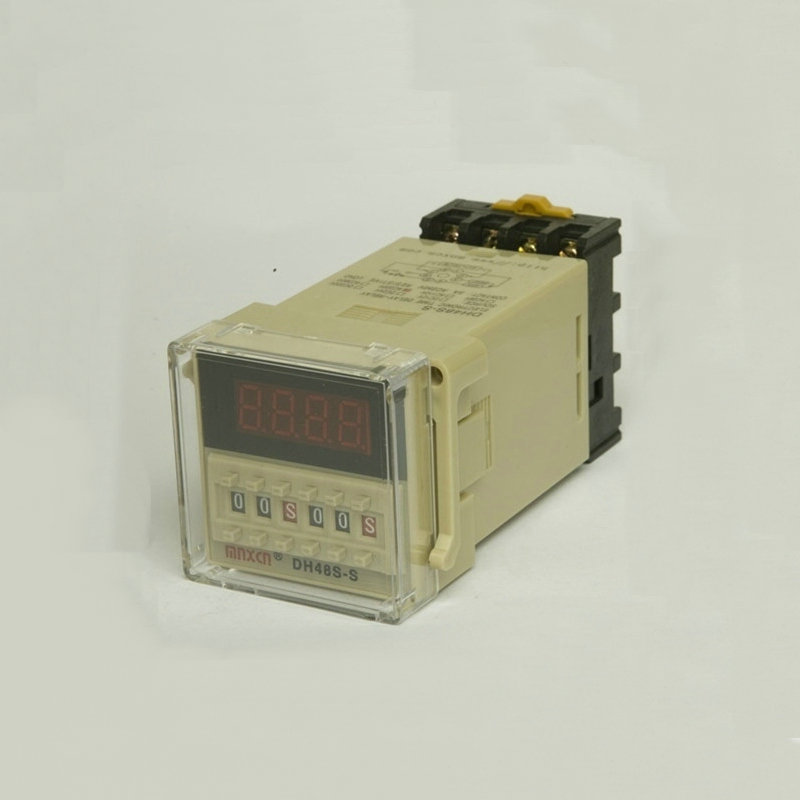 DH48S-S 0.1s~99h Repeat Cycle SPDT Time Relay Counter with Socket/Base AC110V/220V/380V/36V DC 24V/12V Digital Timer dh48j 8 1 9999 panel mount digital counter relay w base ac dc 24v 50 60hz