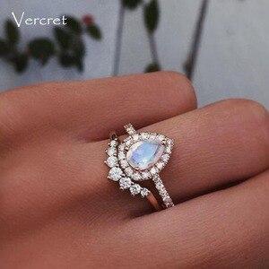 Кольца Vercret из стерлингового серебра с цирконием, женские кольца с месяцем, розовое золото, сердце, украшения в подарок