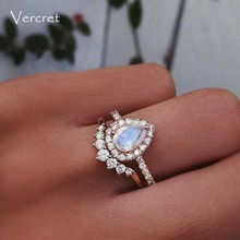 Vercret Sterling Silver Zircon Rings For Women Moon Stone Rings Rose Gold Heart Jewelry For Gift