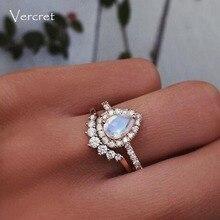 Vercret Sterling Silver Zircon Rings For Women Moon Stone Ri