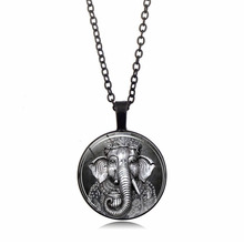 Gimayer Indian Religious Time Crystal Necklace Retro Alloy Glass Resin Pendant Clavicle Chain недорого