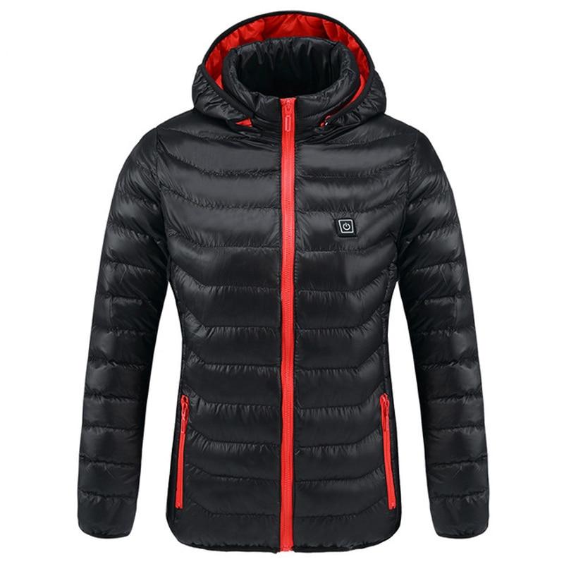 Intelligent Heated Jackets Men&women Winter Outdoor Hooded Waterproof Jackets Thermal Warm USB Heating Quickly Hiking Jackets