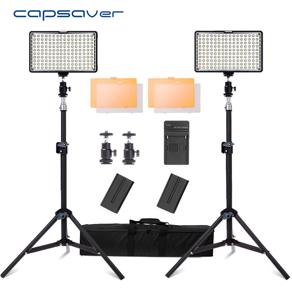 capsaver TL-160S 2pcs LED Video Light Studio Lamp Photo Photographic Lighting with Tripod Dimmable 3200K-5600K NP-F550 Batterycapsaver TL-160S 2pcs LED Video Light Studio Lamp Photo Photographic Lighting with Tripod Dimmable 3200K-5600K NP-F550 Battery