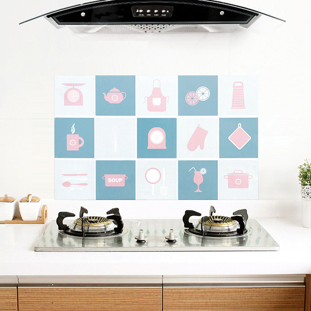 Lucu Cangkir Bunga Pola Dapur R Mandi Diri Perekat Kertas Dinding Tahan Air Stiker Anti