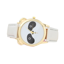 Girls Students Fashion Cartoon Panda Dial Faux Leather Analog Quartz Wrist