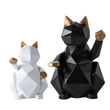 Geometric large cat ornaments rich cat decorative Resin crafts creative Birthday wedding gifts Home Decor(China)