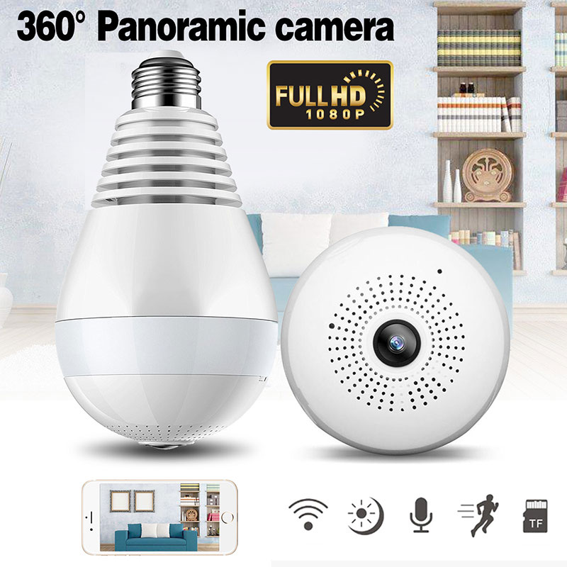 LED Bulb Lamp Wireless IP Camera Wifi 1080P Panoramic FishEye Home Security CCTV Camera 360 Degree Night Vision купить в Москве 2019