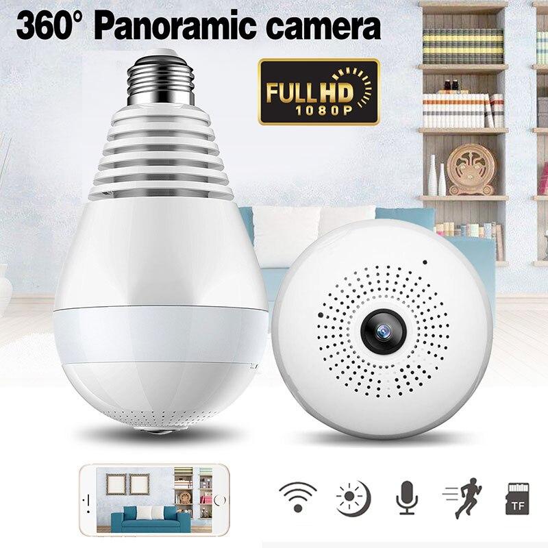 LED ampoule lampe sans fil IP caméra Wifi 1080 P panoramique FishEye sécurité à domicile CCTV caméra 360 degrés Vision nocturne