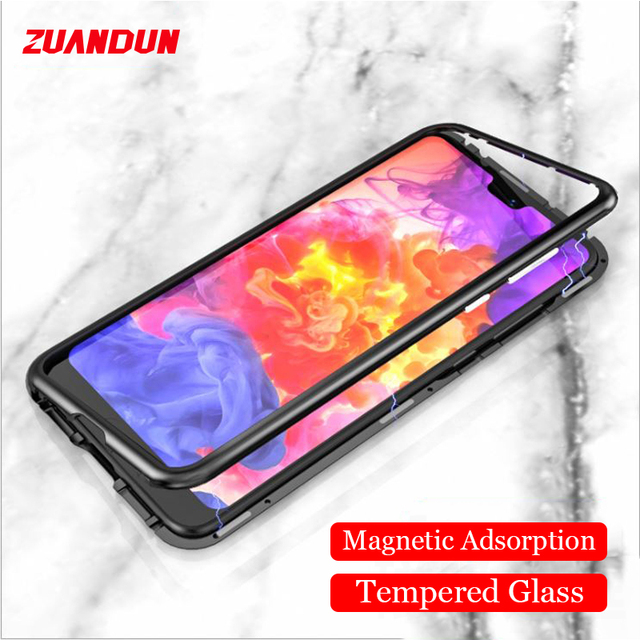the best attitude 0628d 54cb7 US $12.46 |360 Full Magnetic Flip Case For Huawei P20 P20 Pro Aluminum  Metal Bumper Frame Cover For Huawei P20 Pro Tempered Glass Case-in Fitted  Cases ...