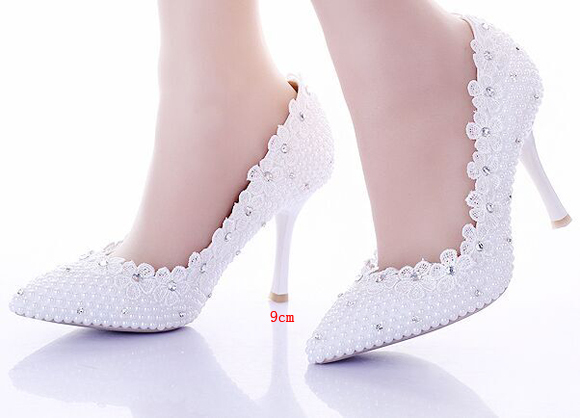 ФОТО Handmade White  Pearls Lace Women Wedding Shoes Pointed Toes Women Party Pumps Thin Heels Bridal Shoes High Heels