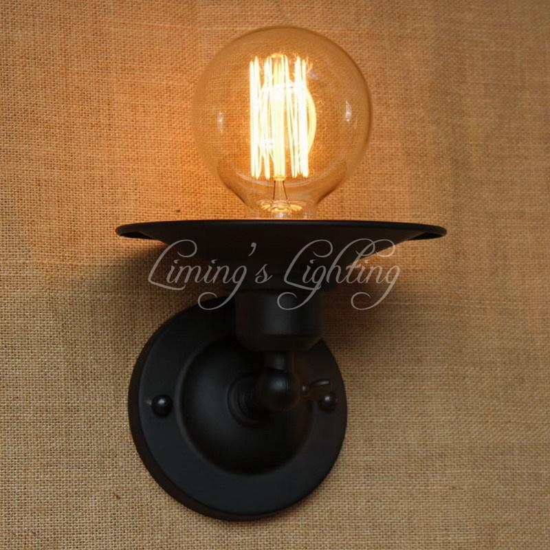 Industrial G80 Edison Bulb Style Mini Vintage Loft Adjustable Antique Metal Wall Light Lamp Sconce Lamp Porch Light Fixtures