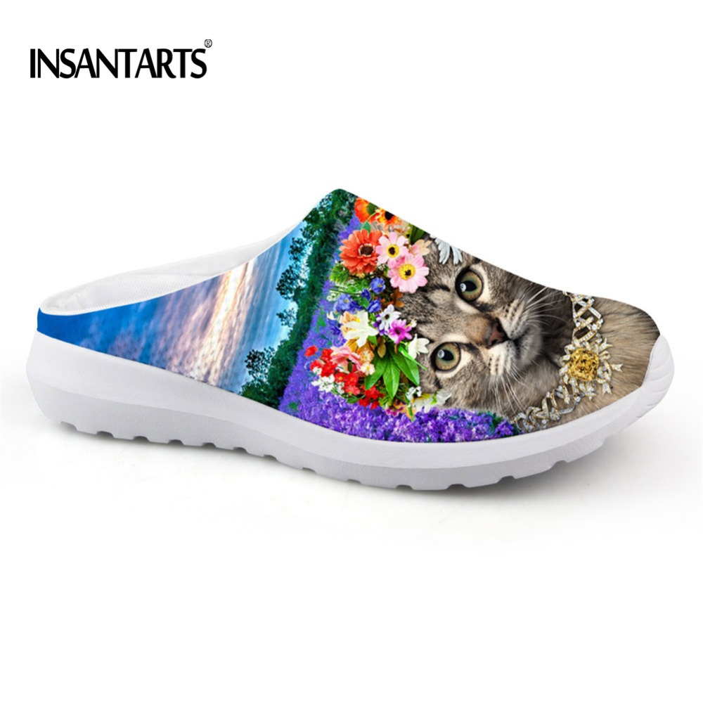 Lavender sandals shoes - Instantarts Kawaii Lavender Cat Printed Mesh Sandals Shoes For Women Summer Beach Water Flat Shoes Girls Loafer Slip On Slippers
