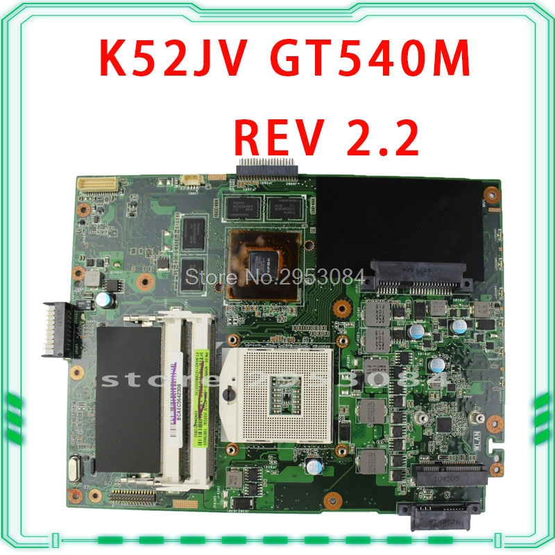 Hot Selling For ASUS K52JV REV 2.2 PGA989 GT540M HM55 N12P-GS-A1 DDR3 VRAM Laptop Motherboard K52JV 100% Fully Tested S-4