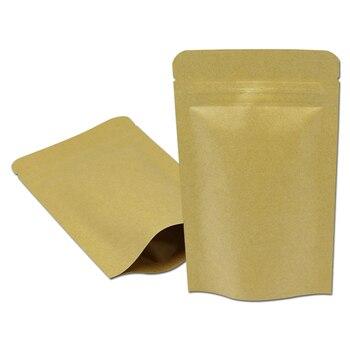 Wholesale 7.9''x9.8'' (20x25cm) Zipper Top Kraft Paper Aluminum Foil Food Sugar Tea Storage Doypack Pouch Zip Lock Stand Up Bags