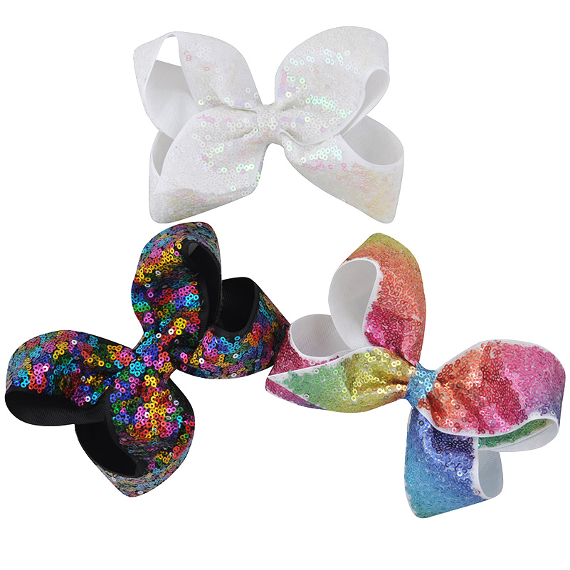 2017 New 6 Inch Boutique Large Ribbon Hair Bows Rainbow With Sequins Girls Hair Accessories women girl Hair Clips Hairpins