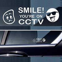 10*3cm a 4 pegatina de advertencia señal de vídeo CCTV cámara de grabación de la ventana del coche de seguridad sonrisa Humor de revestimiento para coche calcomanías