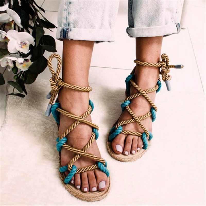 Sandalias de mujer Boho con cordones 2019 cuerda de cáñamo Roma sandalias de mujer casual gladiador Cruz atado zapatos de mujer