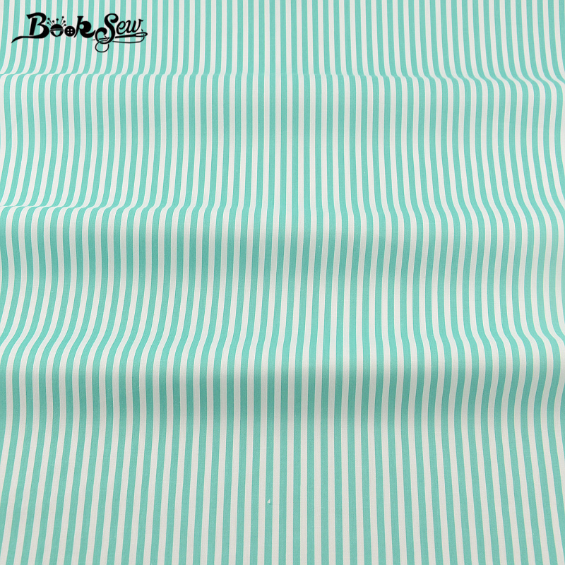 Green Strips Design Booksew New Home Textile Hight Quality Cotton Twill Fabric Quilting Cloth For Bed Sheet Baby Beding Dress